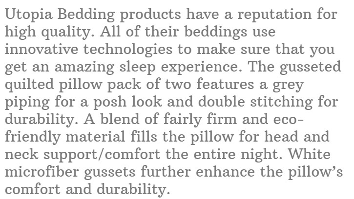 11. Utopia Bedding Gusseted Quilted Pillow