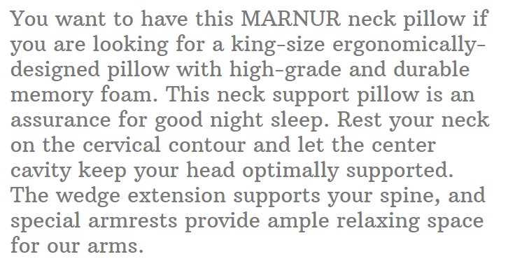 19. MARNUR Cervical Contour Memory Foam Pillow